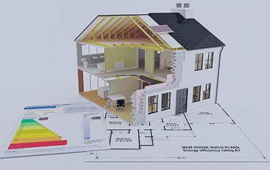 casa sezionata, metafora del buon isolamento e risparmio energetico